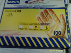 80 Boxes Of 100 pack North Safety Disposable Gloves Large Ambidextrous Clear