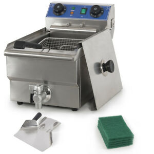 Commercial Restaurant Electric 10l Deep Fryer W Timer And Drain Stainless Steel