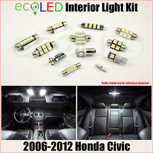 Fits 2006 2012 Honda Civic White Led Interior Light Accessories Package Kit 6 Pc