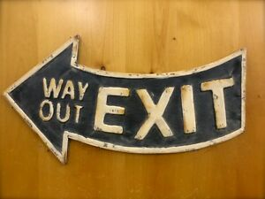 Antique Style Black Metal Exit Way Out Arrow Wall Sign 21 Man Cave Vintage