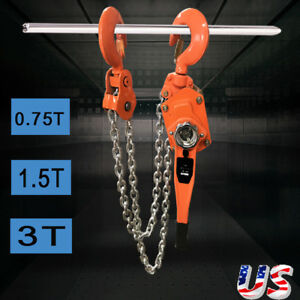 0 75 1 5 3 Ton Lever Block Chain Hoist Ratchet Type Comealong Puller Lifter Us
