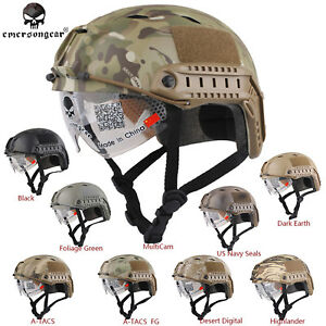 Emerson FAST Airsoft Helmet With Protective Goggle Base Jump BJ Tactical  Helmet