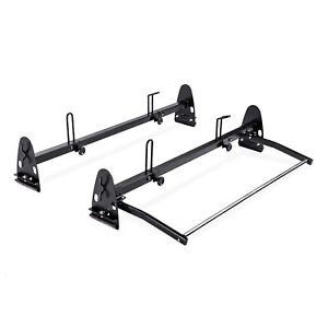 Heavy Duty Steel 2 Bar Van Ladder Roof Carrier Rack W Rear Cargo Roller