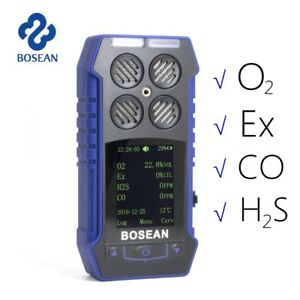 4 in 1 Lcd Industrial Gas Detector H2s Co Ex O2 Leak Four Alarm Mode Monitor Us
