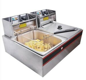 Deep Fryer Tank 5000w 12l Dual W baskets Stainless Steel Commercial Residential