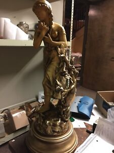 Vintage Statue Little Girl In Woods 23 1 2 Tall Metal Looks Like Bronze