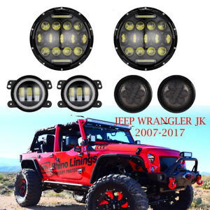 7inch Led Headlight Fog Light turn Signal Lamp Kit For 07 17 Jeep Wrangler Jk
