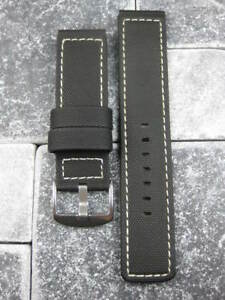 24mm PVC Composite Rubber Band Black Diver Watch Strap Kevlar Fabric White $17.00