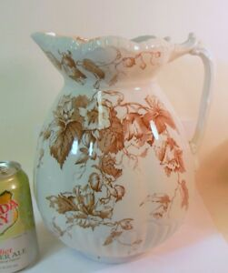 Antique Ceramic Lily Pitcher F Winkel England Victorian Flower Garden Chic