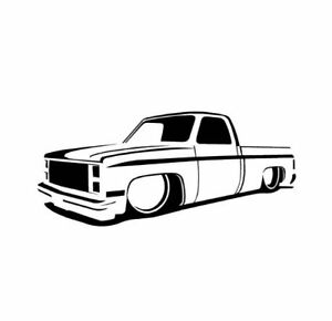 73 87 Chevy Truck Slammed Lowrider Dropped C10 Decal choose Size And Color 022