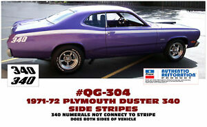Ge qg 304 1972 Plymouth Duster 340 Side Stripe Kit Not Connected Licensed
