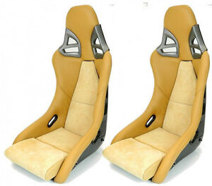 2 Real Carbon Sport Seats For Porsche 911 997 Gt3 Look Leather Alcantara Beige