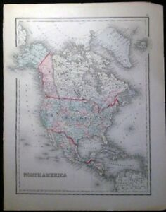 1882 Original Map Of North America Hand Colored O W Gray