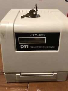Ptr 4000 Pyramid Time Payroll Clock Stamp Machine With 2 Keys Sold As Is