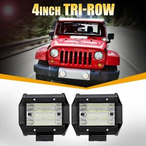 Pair 324w 4 inch Cree Led Work Light Bar Pod Work Flood Offroad Fog Driving Boat