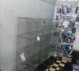 Glass Cube Store Display Fixture Collectors Shelving Retail Holds 19 Items Top