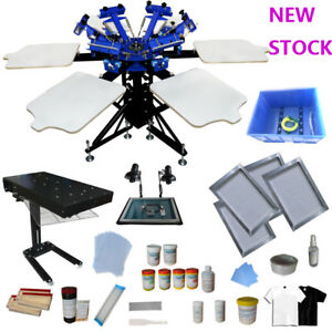 6 Color Screen Printing Kit 1800w Flash Dryer Exposure Unit With Press Materials