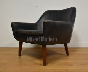 Danish Black Leather Teak Lounge Chair Mid Century Modern