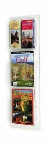 Displays2go Wall Mounted Literature magazine Rack 3 pocket With Dividers Cl