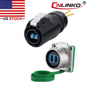 Cnlinko Fiber Optic Connector Plug Socket Ip67 W 10ft Cable Single Mode Lc