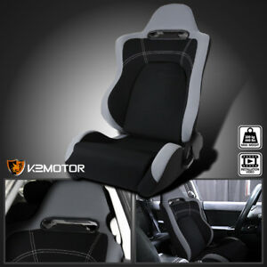 Driver Side Reclinable Cloth Black Center Gray Trim Sport Racing Seat W Slider
