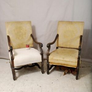 Spanish Walnut Baroque Style Chairs 19th Century Arm Chairs Fortuny