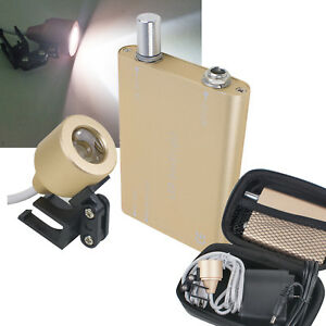 5set Golden Dental Led Head Light Lamp Battery Kit For Dental Loupes carry Case