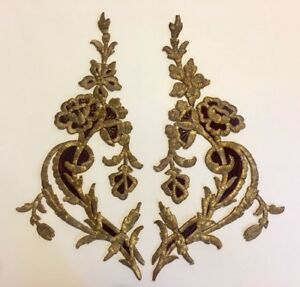 A Pair Of Antique Ottoman Turkish Gold Metallic Hand Embroidery F Applique 40cm