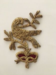 Antique Ottoman Turkish Gold Metallic Hand Embroidery F Applique Bird Motif N2