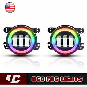 For 07 17 Jeep Wrangler Jk A Pair 4 Cree Led Fog Lights Front Bumper Lamp