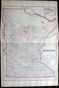 1882 Original Double Page Map Of Minnesota Hand Colored