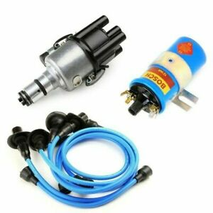 Vw Bug Ignition Kit 009 Distributor 12v Bosch Blue Coil Blue Wires