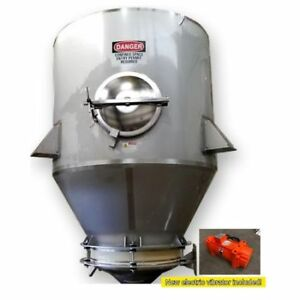 Used 250 Cubic Foot Stainless Sanitary Hopper Receiving With Bin Activator