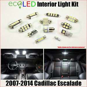 For 2007 2014 Cadillac Escalade White Led Interior Light Package Kit 16 Bulbs