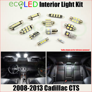 For 2008 2013 Cadillac Cts White Led Interior Light Accessories Kit 13 Bulbs