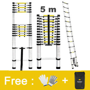 16 4 Ft Aluminum Telescopic Loft Extension Multi purpose Ladder 331lbs Gloves
