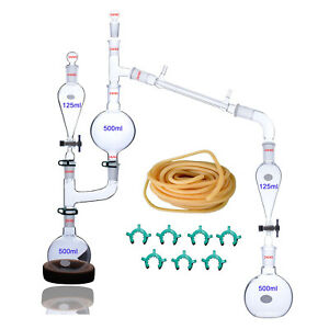 25 Pcs New Lab Essential Oil Steam Distillation Apparatus Glassware 24 40 Joint