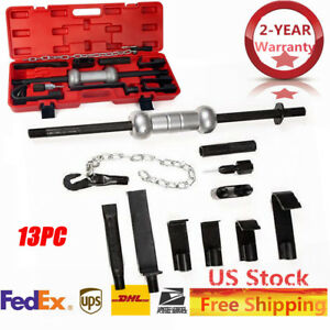 13pc Heavy Duty Dent Puller With Slide Hammer Auto Body Repair Tool Kit W 10lbs