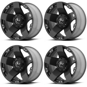 Set 4 17 Xd Series Xd775 Rockstar Black Wheels 17x8 5x4 5 10mm Ford Jeep 5 Lug