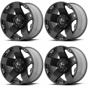 Set 4 17 Xd Series Xd775 Rockstar Black Wheels 17x8 5x4 5 5x5 35mm Jeep 5 Lug