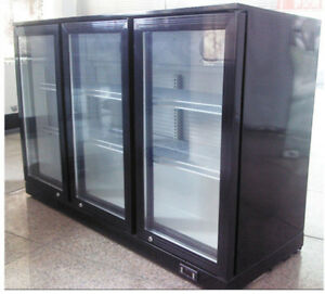 Biz Black 3 door Refrigerator Back Bar Beverage Cooler R134a Refrigerant 110v
