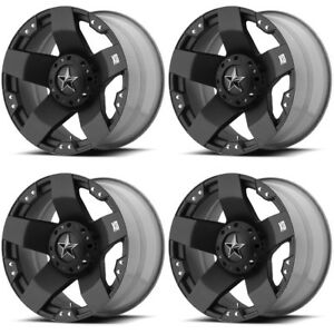 Set 4 18 Xd Series Xd775 Rockstar Black Wheels 18x9 8x6 5 0mm Chevy Dodge 8 Lug