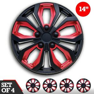 Set 4 Hubcaps 14 Wheel Cover Spa Black Red Abs Easy To Install Universal