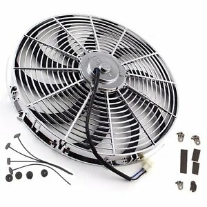 16 Inch Chrome Electric Cooling Radiator Fan Curved Hot Rod With Mount Kit Ls