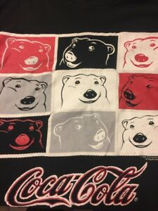 Vintage Coca-Cola T-shirt Polar Bear Coke Logo Graphic 1994 Large L Black G1-12