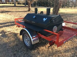 Bbq Pit Charcoal wood Smoker Trailer Mounted Bbq catering Fund Raiser