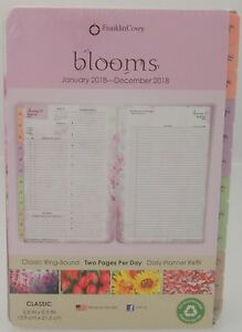 Franklin Covey Blooms 2018 Classic Ring bound Daily Planner Refill