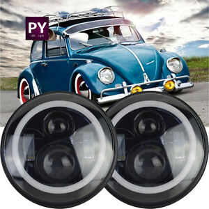 Pair 7inch Round Led Headlamp Hi Low Beam Sealed With Drl For Vw Beetle Classic