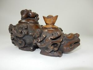 Large Chinese Intricately Carved Jade Dragon Turtle Two Lidded Vessel 10
