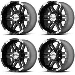 Set 4 16 Moto Metal Mo951 Black Machined Wheels 16x9 8x170 12mm Ford 8 Lug